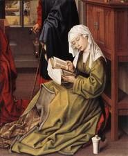 WEYDEN, Rogier van der (b. 1400, Tournai, d. 1464, Bruxelles) The Magdalen Reading c. 1435 Oil, transferred from wood to mahagony, 62 x 55 cm National Gallery, London Rogier van der Weyden (under the French version of his name, 'Rogelet de la Past